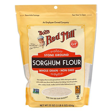 Bobs Red Mill Flour Sorghum Stone Ground Whole Grain Non GMO Gluten Free - 22 Oz