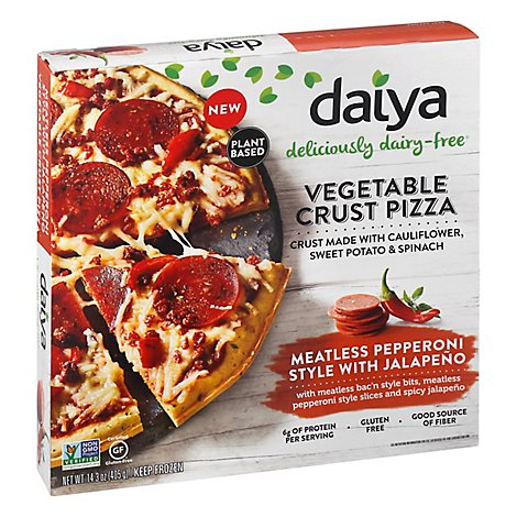 Daiya Pizza Vegetable Crust Meatless Pepperoni Style With Jalapeno Frozen - 14.3 Oz