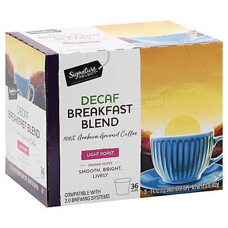 Signature Select Coffee Pod Breakfast Blend Decaf - 36 Count