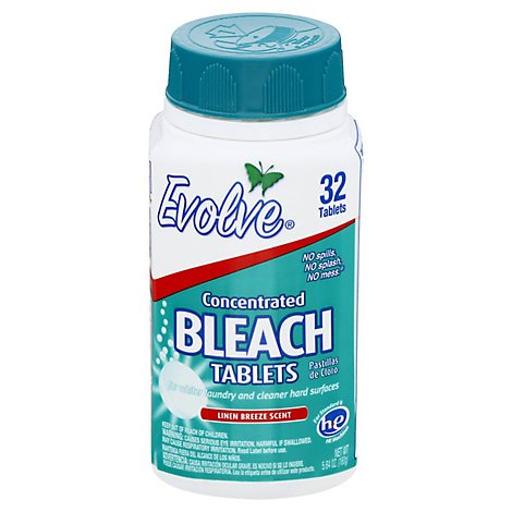Evolve Bleach Tablets Ultra Concentrated Linen Breeze Scent - 32 Count