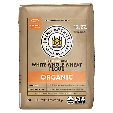King Arthur Flour Organic Flour Whole Wheat Stone Ground White - 5 Lb