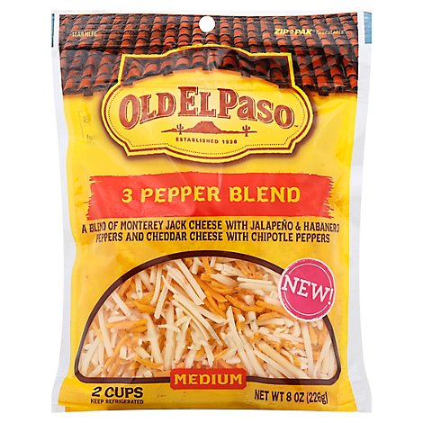 Old El Paso Cheese Shredded 3 Pepper Blend Medium - 8 Oz