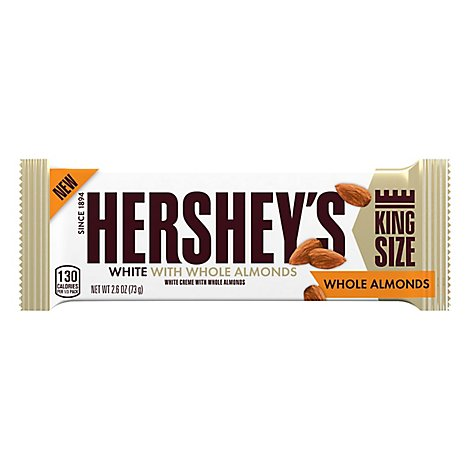HERSHEYS Candy Bar White Creme With Almonds King Size - 2.6 Oz