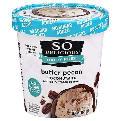 So Delicious Frozen Dessert Dairy Free No Sugar Added Coconut Milk Butter Pecan 1 Pint - 473 Ml