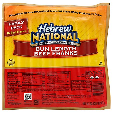 Hebrew National Bun Length Beef Franks - 32 Oz