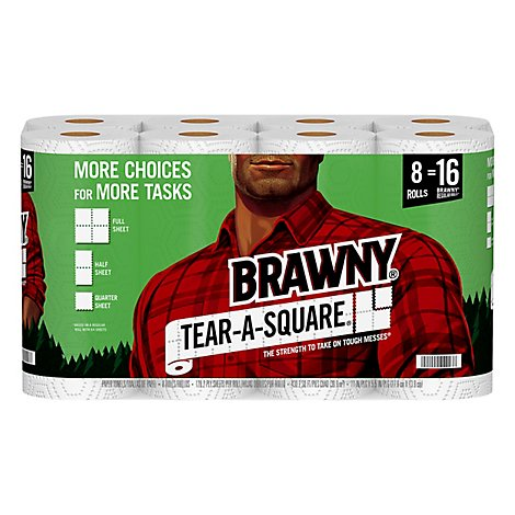 Brawny Paper Towels Tear A Square White 2 Ply - 8 Roll