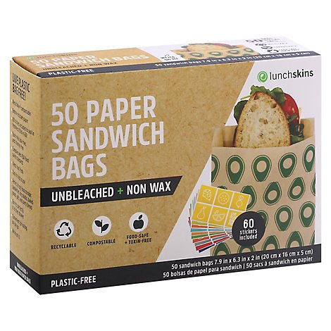 Lunchskins Bag Paper Sandwch Avocado - 50 Count