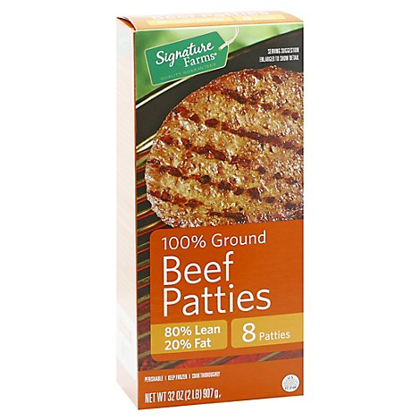 Signature Farms Beef Patties Ground 80%lean 20ct - 2 Lb