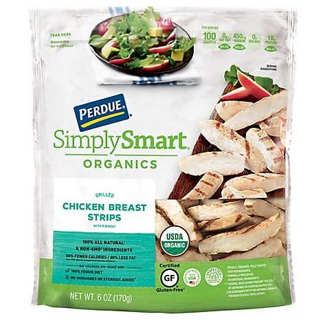 PERDUE Simply Smart Organics Chicken Breast Strips Grilled Gluten Free - 6 Oz