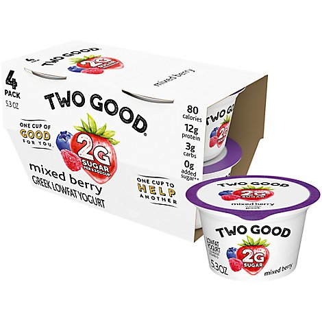Two Good Greek Yogurt Low Fat Mixed Berry - 4-5.3 Oz