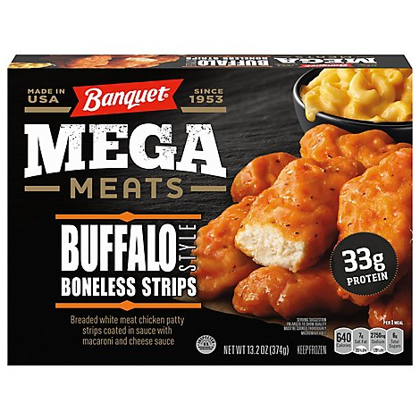 Banquet Mega Meats Buffalo-Style Chicken Strips With Mac& Cheese - 13.2 Oz