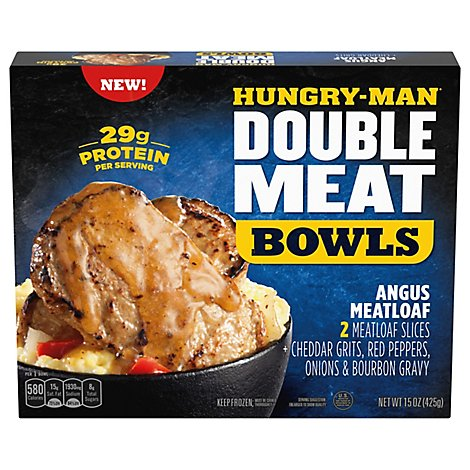 Hungry-Man Double Meat Bowls Angus Meatloaf With Cheddar Chse Grits Frozen - 15 Oz