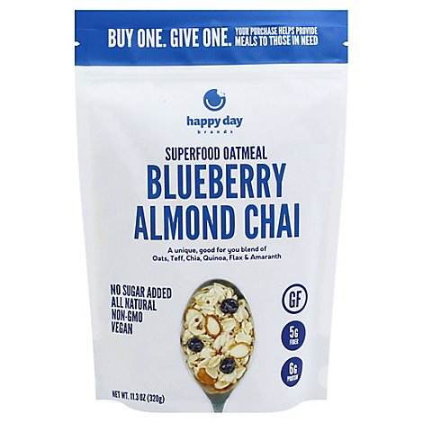 Happy Day Blueberry Chai Super Food Oatmeal - 11.3 Oz