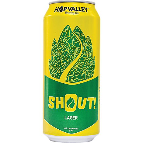 Hop Valley Shout Lager 6 Pack In Cans - 6-16 Fl. Oz.