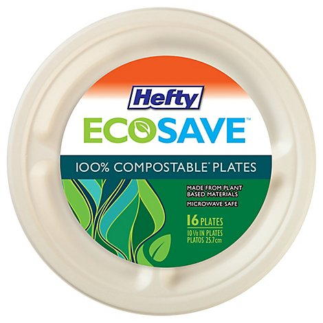 Hefty Paper Plates 10.125 Inch White - 16 Count