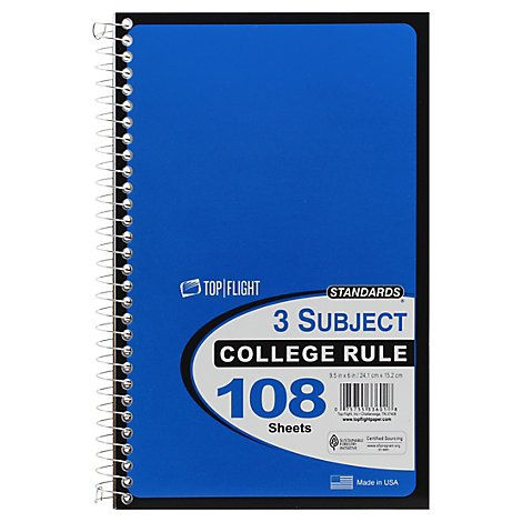 Top Flight Standard Notebook 3 Subject - Each