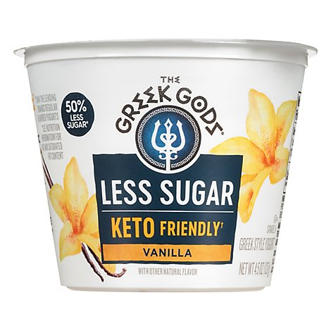 Greek Gods Less Sugar Vanilla Yogurt - 4.5 Oz
