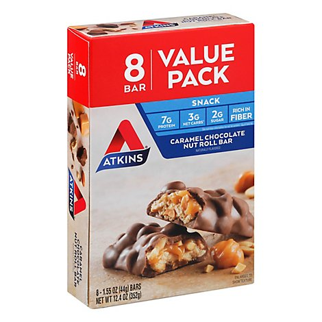 Atkins Caramel Chocolate Nut Roll Bar - 8-1.55 Oz