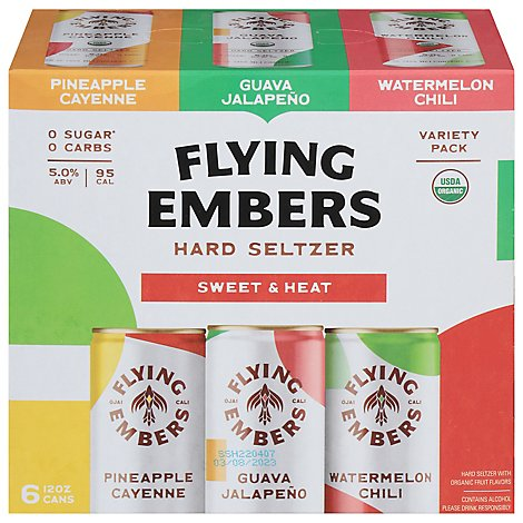 Flying Embers Hard Seltzer Sweet & Heat Variety - 6-12 Fl. Oz.