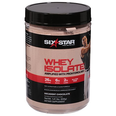 Six Star Decadent Chocolate Powder Whey Isolate - 1.39 Lb