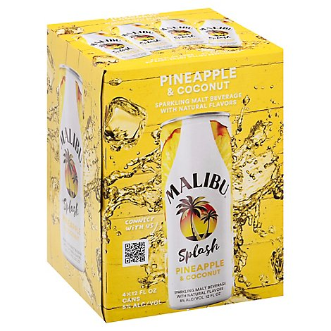 Malibu Malt Beverage Sparkling Pineapple & Coconut Can - 4-12 Fl. Oz.