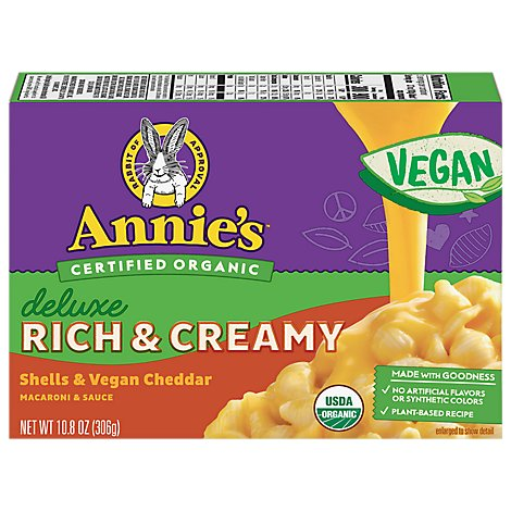 Annies Deluxe Rich And Creamy Shells And Vegan Cheddar - 10.8 Oz