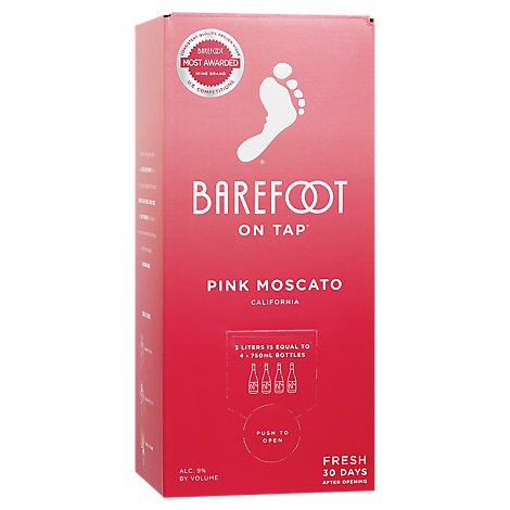Barefoot On Tap Pink Moscato Box Wine - 3 Liter