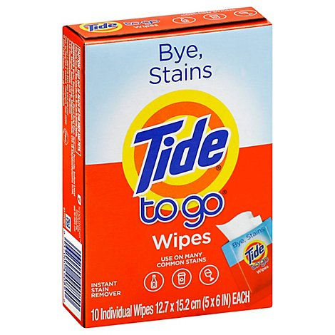 Tide To Go Wipes Instant Stain Remover - 10 count