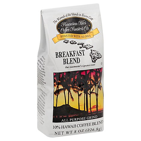 Hawaiian Isles Coffee 10% Hawaii Coffee Blend All Purpose Grind Breakfast Blend - 8 Oz
