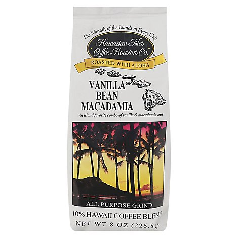 Hawaiian Isles Coffee 10% Hawaii Coffee Blend All Purpose Grind Vanilla Bean - 8 Oz