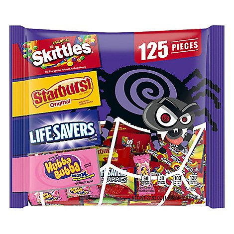 Mars Candy Mix Halloween Skittles Starburst Life Saver & Hubba Bubba 125 Count - 63.43 Oz