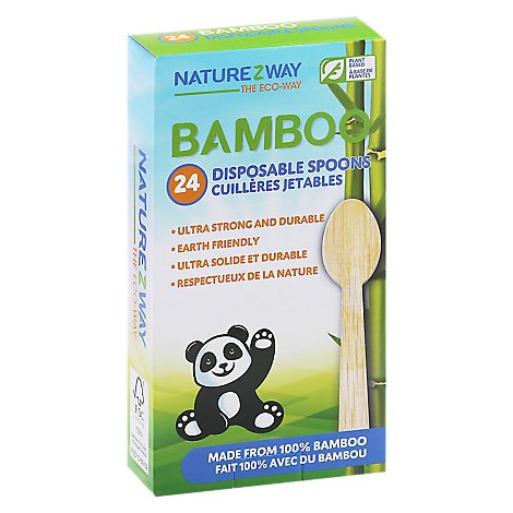 Naturezway Bamboo Disposable Spoons - 24 Count