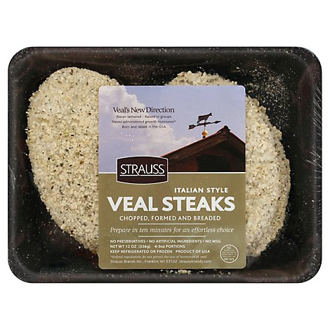 Strauss Italian Breaded Veal Steaks Frozen - 12 Oz