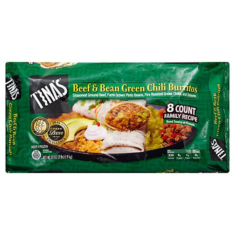 Tinas Burrito Beef And Bean Green Chili - 8 Count