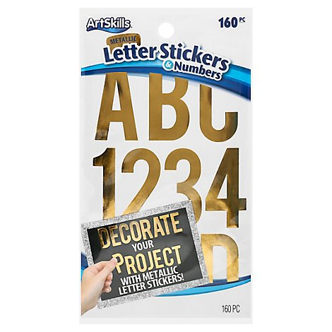 Metallic Letter And Number Stickers Gold 160 Pieces - Each