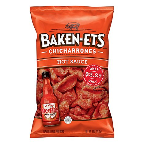 Baken-Ets Fried Pork Skins Franks Red Hot - 3 Oz