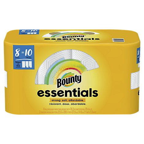Bounty Essentials Paper Towels Large Rolls Select A Size White - 8 Roll