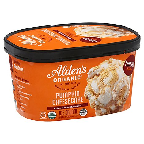 Aldens Organic Ice Cream Chse Ck Pumpkn - 48 Oz