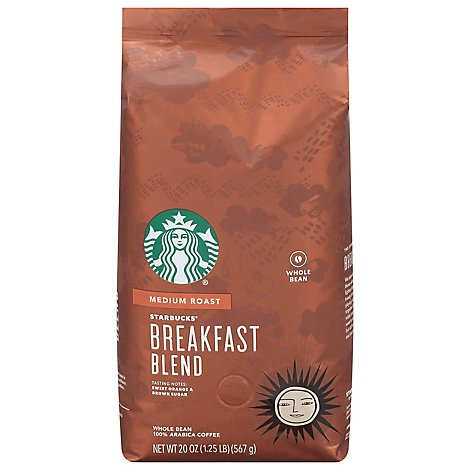Starbucks Breakfast Blend Coffee Bean Whole - 20 Count