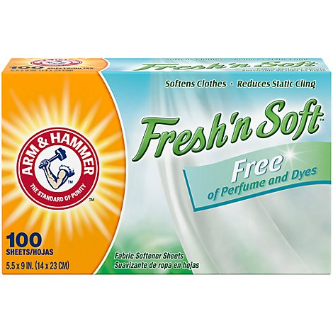 Arm & Hammer Fabric Softener Sheet Fragrance Free - 100 Count