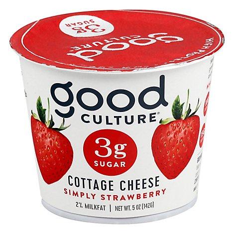 good culture 3g Sugar Cottage Cheese Simply Strawberry - 5 Oz