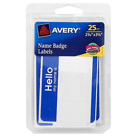 Avery Name Badge Labels Removable Blue Border 25 Count - Each