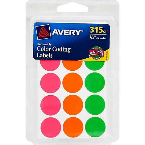 Avery Color Coding Labels Removable Assorted Neon 315 Count - Each