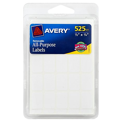 Avery All Purpose Labels White Removable 315 Count - Each