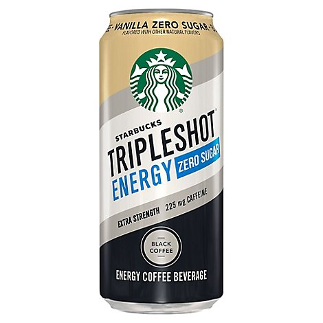 Starbucks Triple Shot Coffee Drink Energy Zero Sugar Vanilla Black - 15 Fl. Oz.