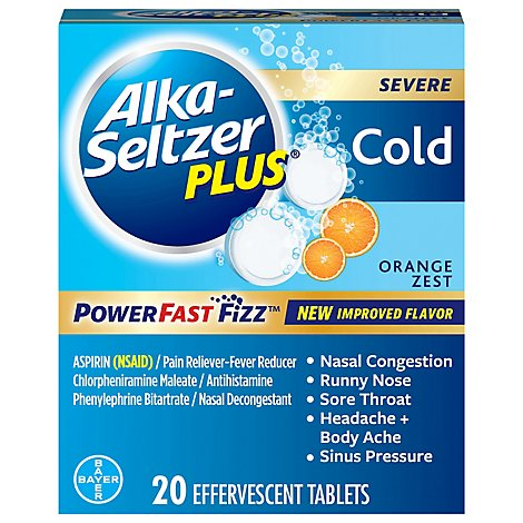 Alka Seltzer Plus Cold Orange - 20 Count