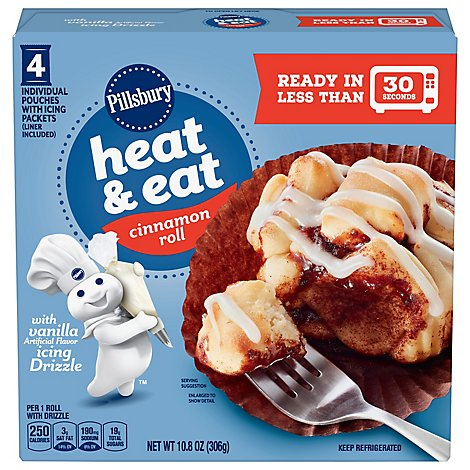 Pillsbury Cinnamon Roll Heat & Eat With Vanilla Icing Drizzle 4 Count - 10.8 Oz