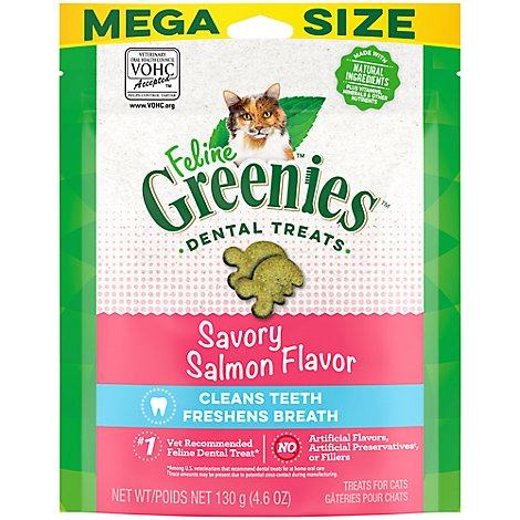 GREENIES Feline Dental Cat Treats Adult Savory Salmon Flavor - 4.6 Oz