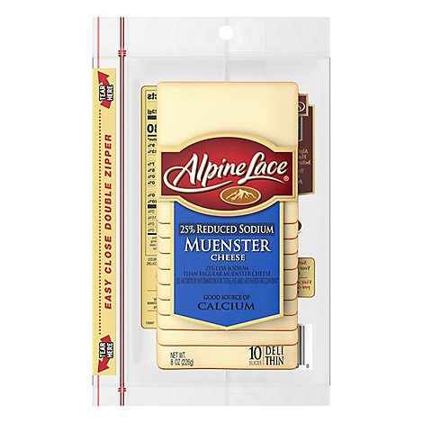 Alpine Lace Muenster Sliced Deli Cheese - 8 Oz.