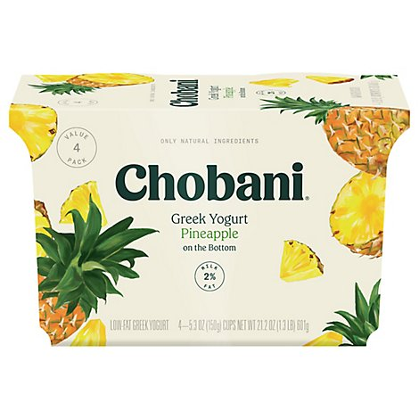 Chobani Pineapple 2% Fruit On The Bottom - 4-5.3 OZ
